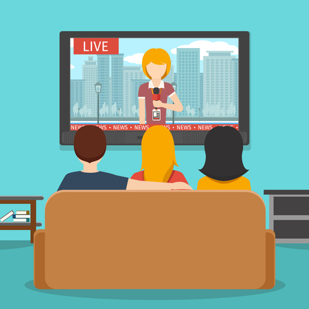People watching news on television. Tv news, screen and sofa, man watching television, people together watching. Vector flat illustration