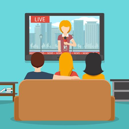 Persone che guardano le notizie in televisione. notizie tv, schermo e divano, l'uomo a guardare la televisione, le persone a guardare. Vector piatta illustrazione Archivio Fotografico - 54596882
