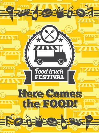 식품 트럭 축제 벡터 포스터입니다. 밴 트럭 음식 축제, 카페 거리 음식 트럭, 스티커 음식 트럭 축제. 벡터 일러스트 레이 션