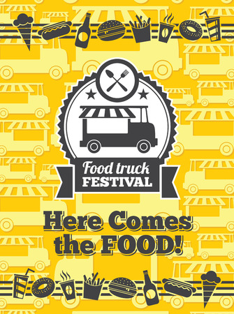 street food: Food truck festival vector poster. Van truck food festival, cafe street food truck, sticker food truck festival. Vector illustration Illustration