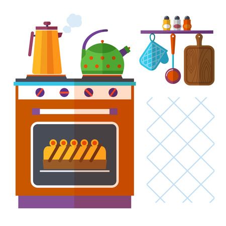 boiling pot: Home kitchenware vector concept with stove, kettle, coffee pot and cake. Appliance utensil, domestic oven, breakfast and boiling kettle illustration Illustration