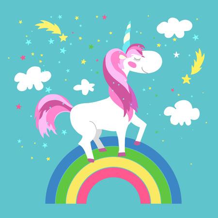 Fata unicorno con arcobaleno. cavallo unicorno, fata animale, fata pony. illustrazione di vettore