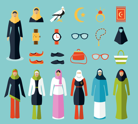 woman accessories: Arab woman accessories and clothes icons. Woman arab, cloth islam, woman handbag, sunglasses amd traditional arabic female, vector illustration Illustration