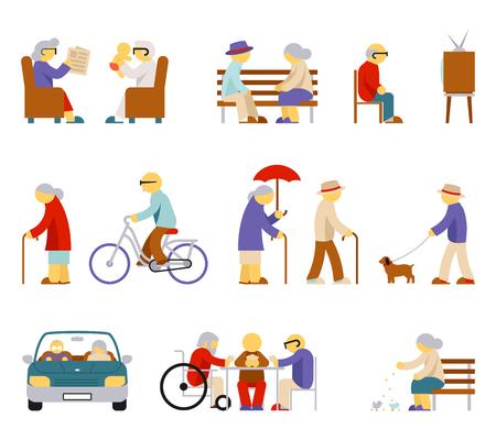 persona de la tercera edad: iconos de estilo de vida de alto nivel. El hombre y la mujer de edad avanzada, personas mayores, Pareja persona, tarjeta de juego, la alimentación de la paloma, cuidar y ver la televisión. ilustración vectorial