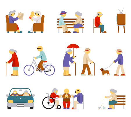 babysit: Senior lifestyle icons. Man and woman elderly, senior people, couple person, play card, feeding pigeon, babysit and watch tv. Vector illustration