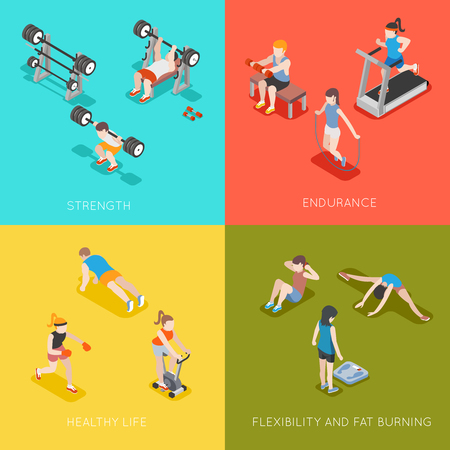 endurance: Fitness concept vector backgrounds. Sport endurance, healthy life, strength and fat burning, flexible fitness illustration Illustration