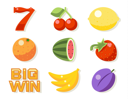 gambling game: Slot gambling machine vector icons set. Gambling luck, machine slot, game fruit illustration
