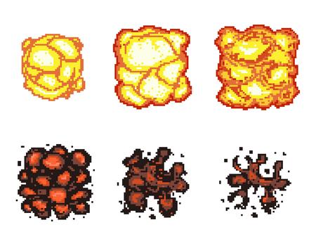 computer animation: Video game explosion animation in pixel art. Explosion animation frames. Pixel explosion, bomb boom art pixel, flame animation pixel art. Vector illustration