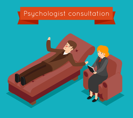 psychologist: Psychologist consultation. Vector mental problems concept in 3D isometric style. Patient and mental therapy, problem psychologist, health psychology, consultation psychologist illustration