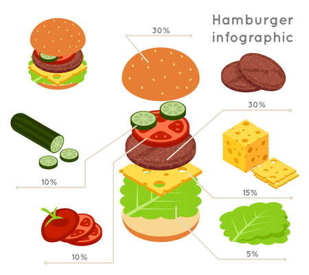 ingredients: Hamburger ingredients flat isometric style vector infographics. Hamburger food, infographic ingredient, vegetable and salad illustration