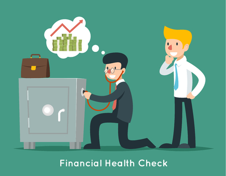 health check: Businessman check financial or money health with stethoscope. Vector business concept. Businessman finance, financial doctor, wealth safe illustration