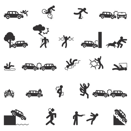 Icone infortuni vector set. fuoco incidente, il trasporto incidente, incidente disastro pericolo illustrazione