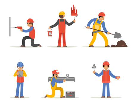Construction worker, architect and engineer vector character. Architect man, worker man, handyman or craftsman, plumber worker, plasterer worker illustration Illustration