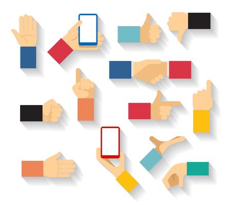 Hand gestures vector. Hand finger, thumb hand, palm hand, finger pointer illustration Illustration