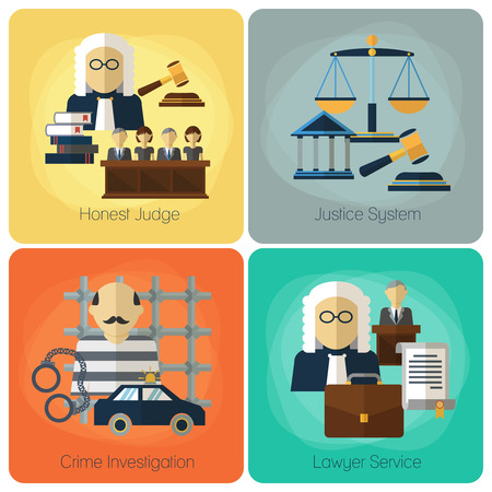 judge hammer: Legal services, law and order, justice vector flat concept set. Honest judge, justice system, crime investigation, lawyer service, banner set illustration