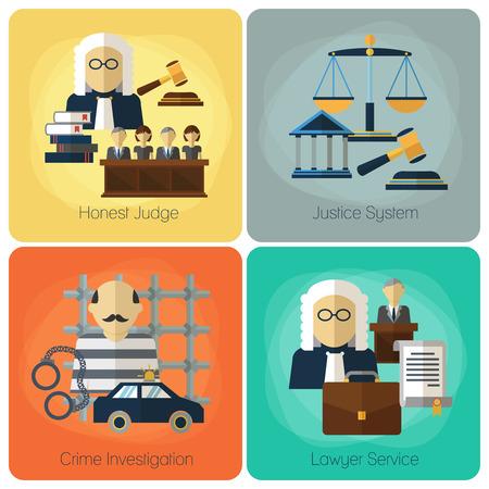Servizi legali, legge e l'ordine, la giustizia vettore piatto concetto set. giudice onesto, giustizia, indagini sulla criminalità, servizio di avvocato, l'insieme della bandiera illustrazione