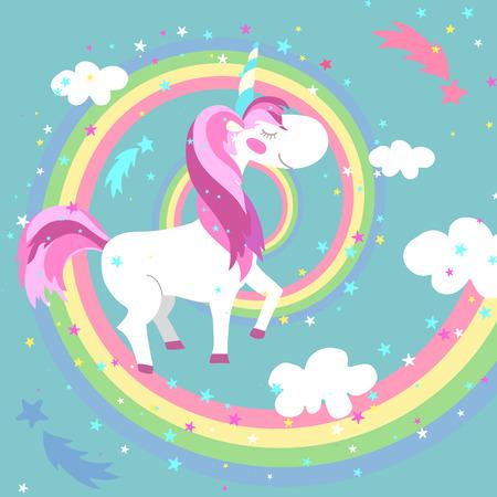 Unicorn e arcobaleno illustrazione vettoriale. Unicorno arcobaleno colorato. Cavallo o pony fata, arcobaleno ricciolo, infantile creatura unicorno, spirale arcobaleno illustrazione