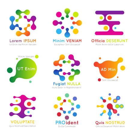 set vector cząsteczkowa logo firmy. Logo firmy molekularna, streszczenie technologii logo ilustracji