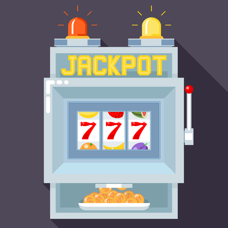 gambling game: Casino slot gambling machine. Vector UI game template. Slot  casino, game gambling, machine play, jackpot chance illustration