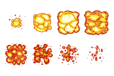 Pixel art explosion animation frames. Pixel boom explosion, flame burst animation pixel art, video animation fire, vector illustration