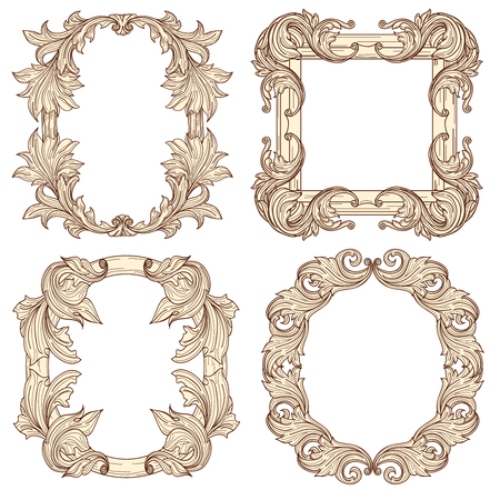 baroque picture frame: Picture frames in baroque antique style. Vector engraving retro frames. Frame vintage decorative, retro antique frame, picture frame illustration