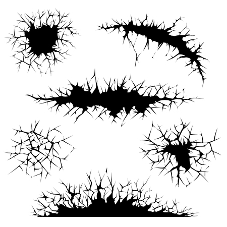 Vector cracks, cracked ground and wall. Ground or wall, crack abstract, crash distress, edge cracked illustration