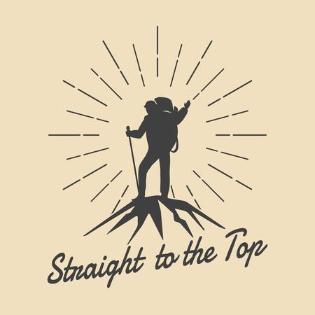 Mountain travel man retro emblem. Man on mountain peak vector logo. Peak logo, extreme adventure logo, climbing outdoor tourism logo illustration 일러스트