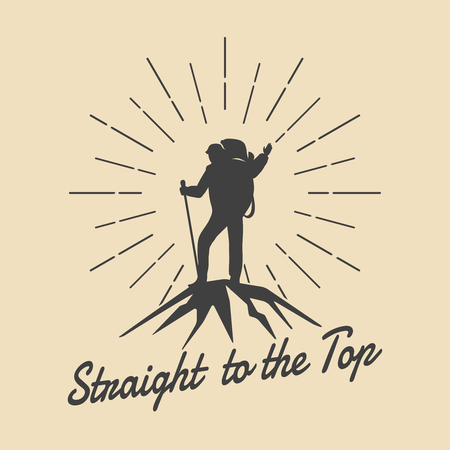 Mountain travel man retro emblem. Man on mountain peak vector logo. Peak logo, extreme adventure logo, climbing outdoor tourism logo illustration Illustration