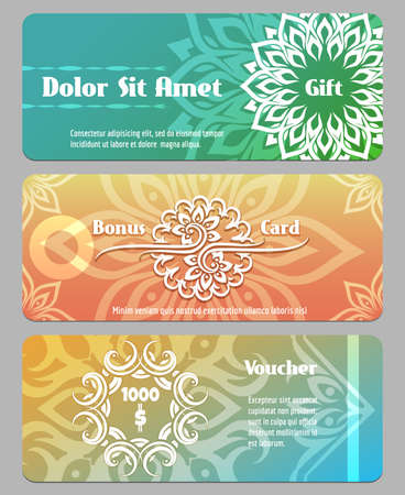 remuneration: Thai calligraphic design gift card, bonus card and voucher templates. Voucher financial, gift coupon, banner card bonus. Vector illustration