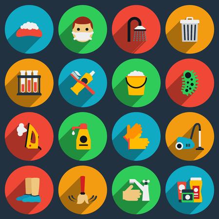 higiene: set de higiene y el saneamiento de vectores iconos planos. La higiene icono limpio, las tareas domésticas de saneamiento icono ilustración Vectores