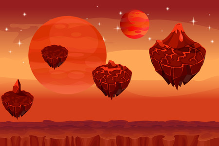 aliens: Fantastic space landscape, martian alien planet game seamless background. Panorama island, magma mountain, volcano and fantastic planet, lava nature, vector illustration