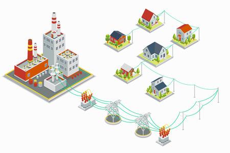 electricidad industrial: Casa de máquinas y distribución de energía eléctrica vector de infografía. Concepto 3D isométrica. industrial de la electricidad, la estación de energía de la industria, la ilustración tensión eléctrica