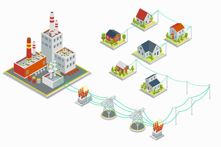 Powerhouse and electric energy distribution vector infographic. 3D isometric concept. Electricity industrial, industry power station, voltage electrical illustration Illustration