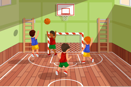 gymnasium: School basketball team playing game. Kids are playing basketball, sport basketball, playing gym, court basketball game, vector illustration Illustration
