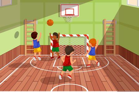 Scuola squadra di basket gioco di. I bambini stanno giocando la pallacanestro, il basket lo sport, giocando palestra, un campo partita di basket, illustrazione vettoriale