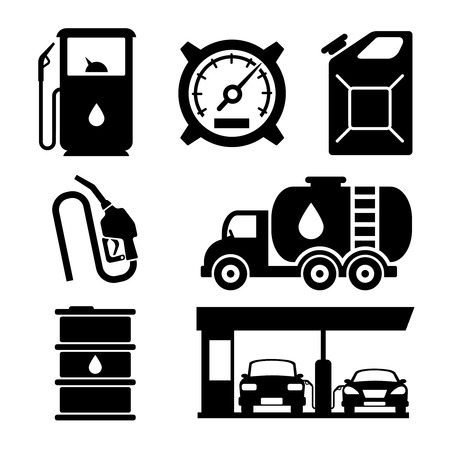 fuelling pump: Gas station vector icons set. Gas icon, car and oil icon, fuel gasoline icon illustration
