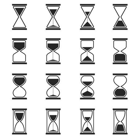 Klepsydra i klepsydry wektorowe ikony. Klepsydra zegar, klepsydra zegar, szkło ilustracja czas