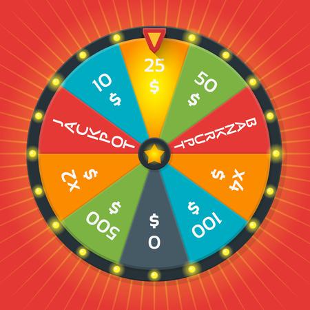 rueda de la fortuna: plantilla vector de la rueda de la suerte. Rueda de color suerte con la cantidad de dinero. juego de suerte, la rueda de la fortuna, ganador del juego, el casino dinero ilustración