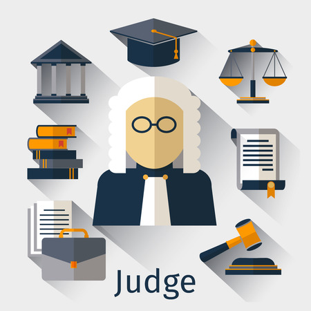 juridical: Judge flat icon. Judge and justice vector symbols. Law legal, gavel justice, judge man, juridical balance illustration