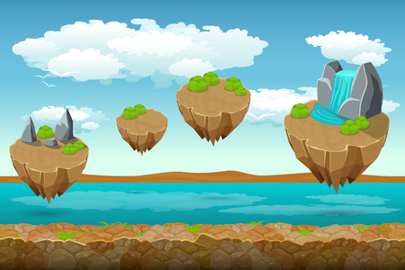 green river: Jumping islands game pattern, the river bottom and cloudy sky on top. Unending background for game. Ui play, layer level, surface unending, soaring island, panorama island. Vector illustration