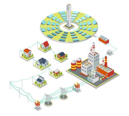 electricidad industrial: sistema de energía solar. 3D isométrica concepto de electricidad. Batería del panel,, alternativa electricidad industrial solar, industria solar eléctrico, ilustración vectorial