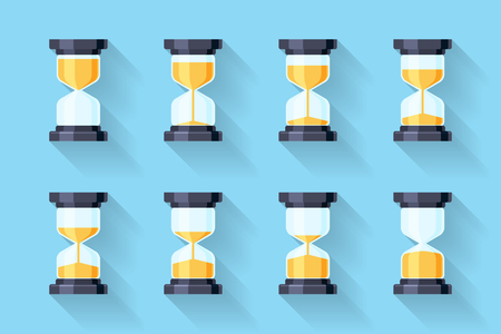 instrument of time: Sandglass flat icons vector. Sandglass animation frames. Time hourglass, sandclock process timer, animation countdown illustration