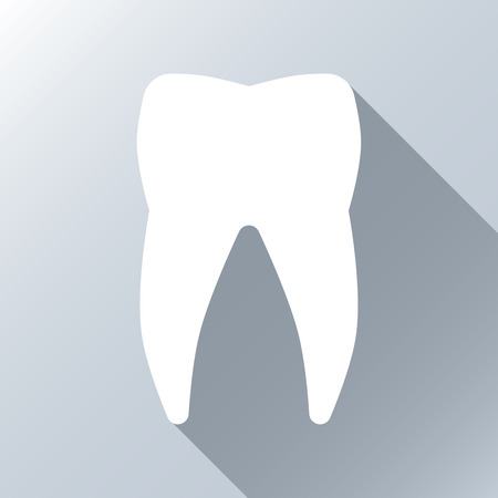 stomatology: White tooth with long shadow effect. Silhouette white tooth, icon tooth white, stomatology healthcare, human white tooth. Vector illustration background Illustration