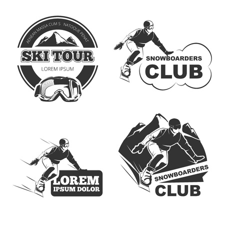 Retro ski vector emblems, badges and logos set. Ski winter badge, sport ski or snowboard, vintage logo ski, label ski outdoor illustration