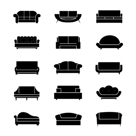 couches: Sofas and couches furniture black vector icons. Sofa interior, couch furniture,  comfortable sofa and couches, soft couches and sofa illustration