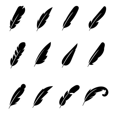 pens: Feather black vector icons. Pen feather drawing, feather bird, icon silhouette feather black illustration