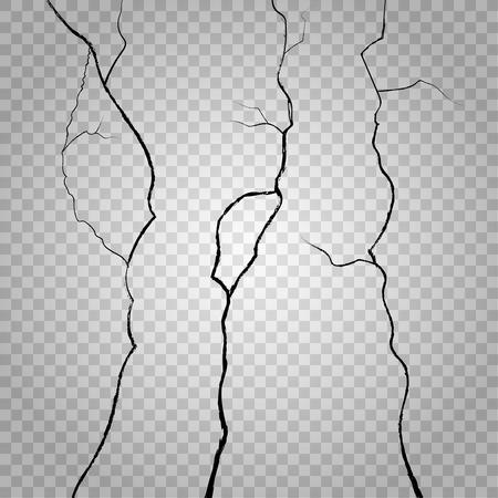 destruction: Vector wall cracks on transparent checkered background. Crack rough, effect crack wall, surface crack or break wall, destruction wall illustration