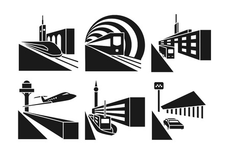 construction machines: Transportation stations vector icons set. Station taxi car, station bus, building station train railway illustration