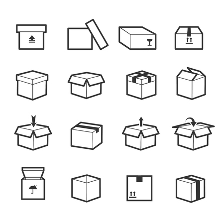 container box: Line box vector icons. Box icon, package box, container linear box, packaging and delivery box illustration