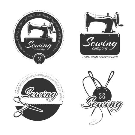 Vintage tailor vector labels, emblems and logo set. Retro label sewing, badge or logo sewing, vintage emblem sewing, handmade craft tailoring illustration